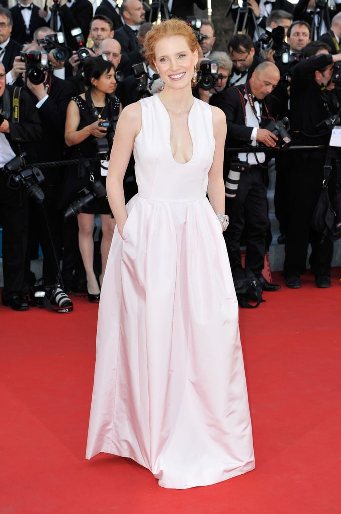 Jessica Chastain wore a pale pink dress with a plunging neckline for the opening of the Cannes Film Festival and the premiere of Moonrise Kingdom.