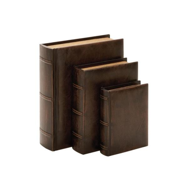 Litton Lane Vintage Rectangular Wood and Synthetic Leather Book Boxes (Set of 3)