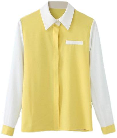 Romwe Colorblock Fake Pocketed Yellow Shirt ($27)