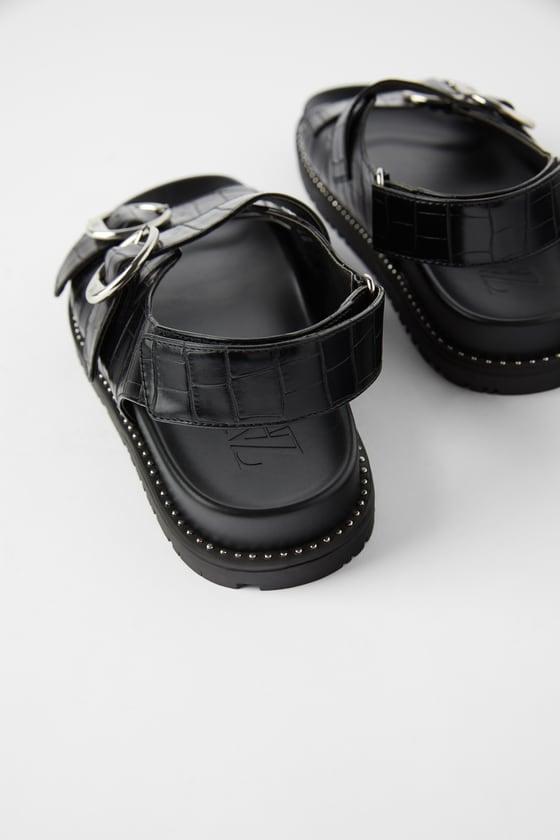 Zara Animal Print Flat Sandals With Buckles ($80)