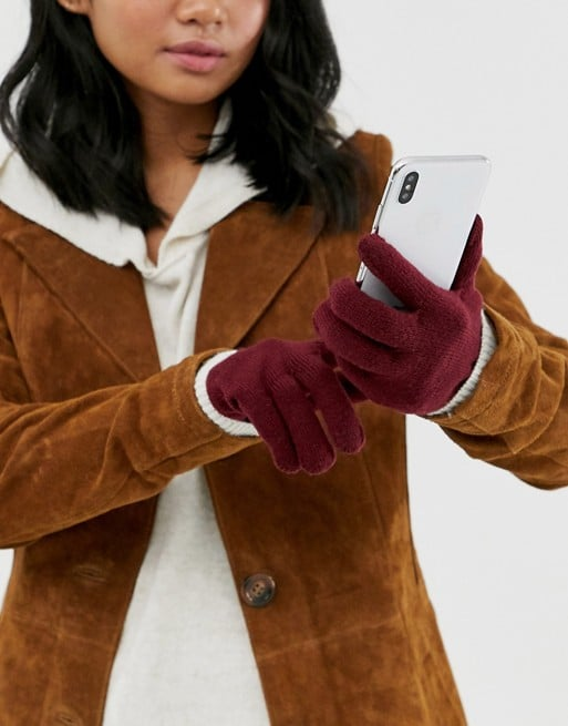 ASOS Design Recycled Polyester Red Touch Screen Gloves