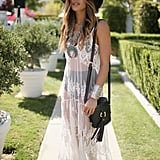 A long sheer dress, flashing just a glimpse of skin will keep you looking cool and chic!