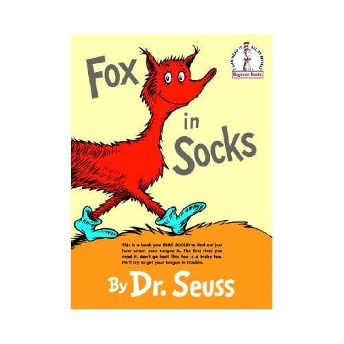 Fox and his socks along with Knox in a box lead us on a trek through tortuous tongue twisters in Fox in Socks.