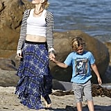 Gwen Stefani held hands with Kingston on the beach in Malibu on Memorial Day.