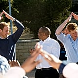 They danced with children affected by HIV during a visit to Lesotho in June 2010.