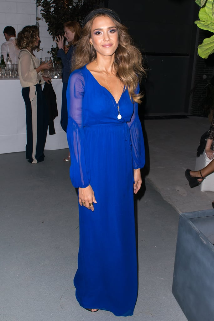 Jessica Alba chose a bold blue gown for the Diane von Furstenberg after-show dinner on Sunday.