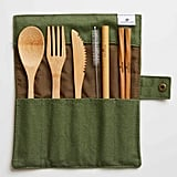 Green + Kind Bamboo Cutlery Set - Roll Up in olive ($20)