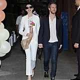 Anne Hathaway and Adam Shulman walked into the Stella McCartney presentation holding hands in NYC.