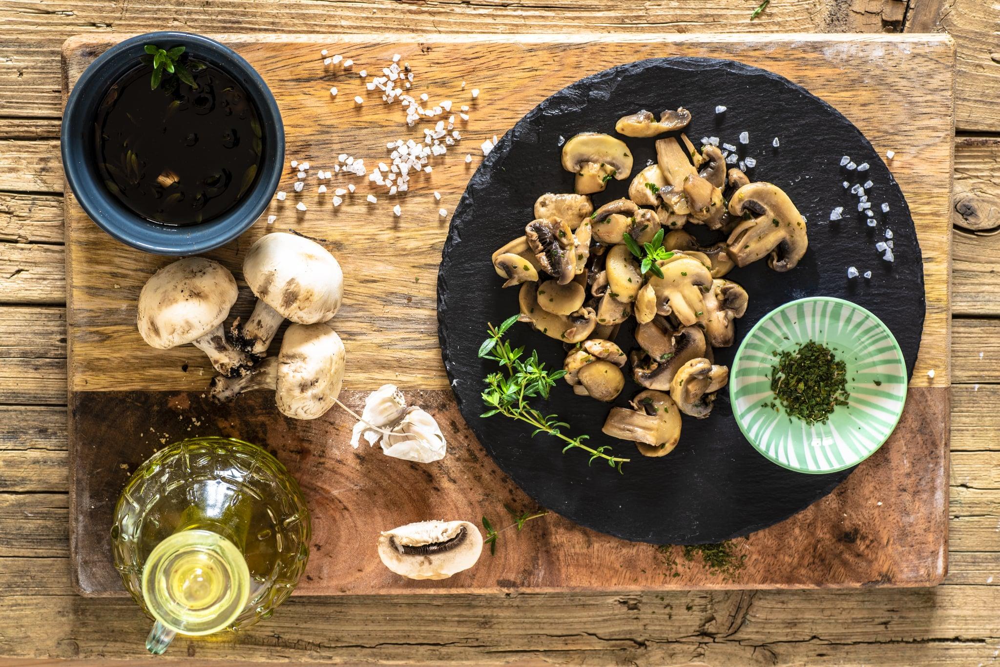 sautéed mushrooms a pan with parsley and garlic, sautéed, typical Italian dish