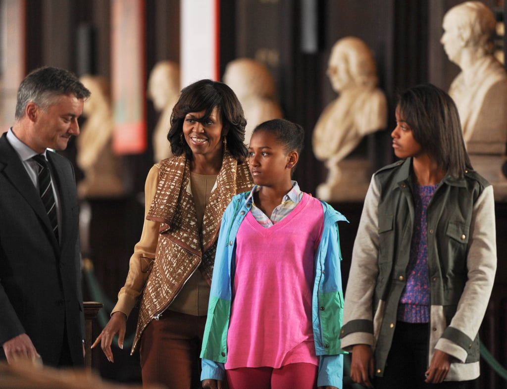First Lady Michelle Obama toured the Old Library Building at Dublin's Trinity College with Sasha and Malia in June 2013.