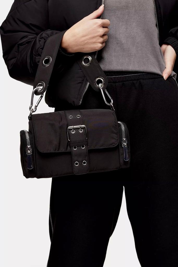 Topshop Black Nylon Buckle Shoulder Bag