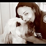 Sanaa Lathan snapped a cute photo with her dog. Source: Twitter user justsanaa