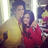 Lucy Hale and Angie Harmon hung out in the makeup trailer. Source: Instagram user lucyhale89