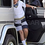 Kingston Rossdale showed off his bright yellow kicks in Orange County.
