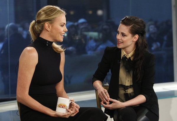 "Charlize Theron and Kristen Stewart made the trip from LA to NYC on Sunday for an appearance on Today yesterday. Charlize and Kristen also spent a good portion of Saturday together, when they teamed up with director Rupert Sanders at WonderCon. Yesterday morning the pair shared a clip from Snow White and the Huntsman's new trailer and talked about the epic scale of the film, as well as their characters the Evil Queen and Snow White. Matt Lauer asked Charlize about a permanent role she recently announced: being mum to 4-month-old adopted son Jackson. Charlize said, ""It's going amazing, he's scrumptious, and delicious, and he's incredible."" The actresses have an exciting two months ahead with multiple magazine covers, a movie junket, and international press stops prior to the highly anticipated June 21 release of their fairlytale adaptation."