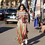 What else is there to pair with a rainbow-stripe skirt than a similarly bright stripe on top?