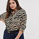 ASOS Design Curve Cropped Long Sleeve Shirt in Tiger Animal Print
