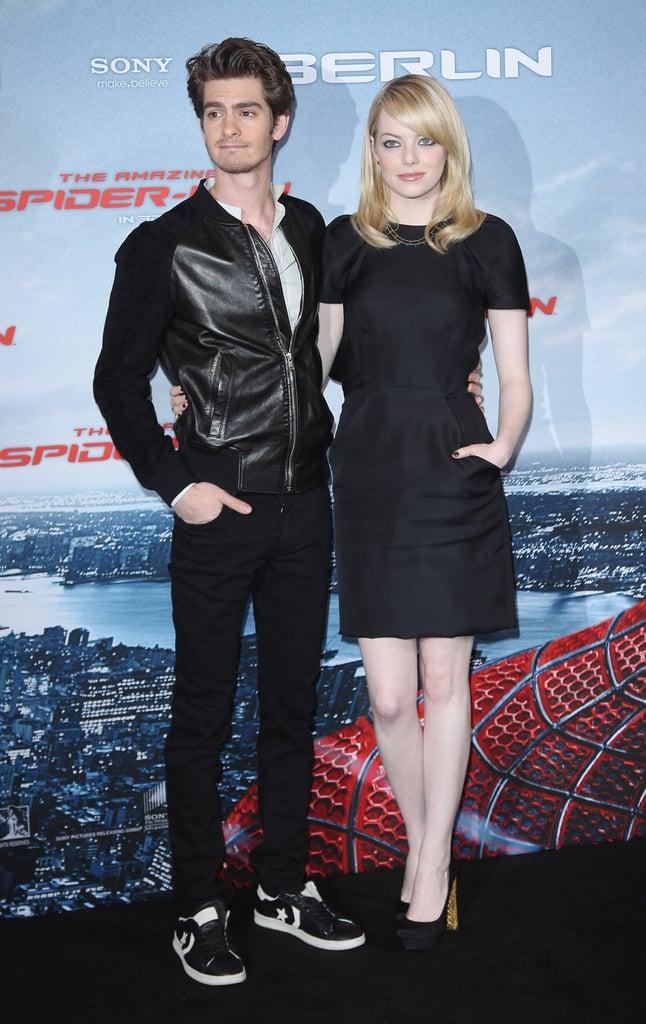 Andrew Garfield and Emma Stone were on stage together at the Berlin photocall for The Amazing Spider-Man.
