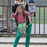 On St. Patrick's Day, Jennifer Garner took Seraphina, Samuel, and the rest of her family to an LA park to play.