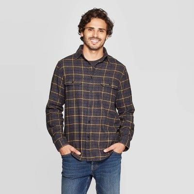 Goodfellow & Co™ Men's Plaid Standard Fit Long Sleeve Flannel Button-Down Shirt