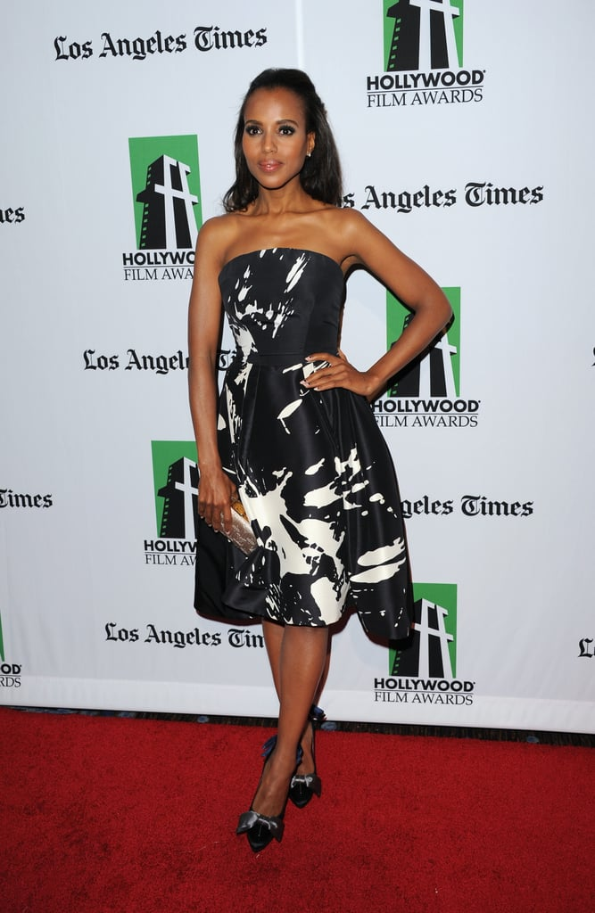 Kerry Washington wore a printed strapless dress to attend the event in Los Angeles.