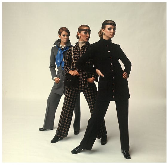 Striking a pose in one of Yves Saint Laurent's too-cool suits.