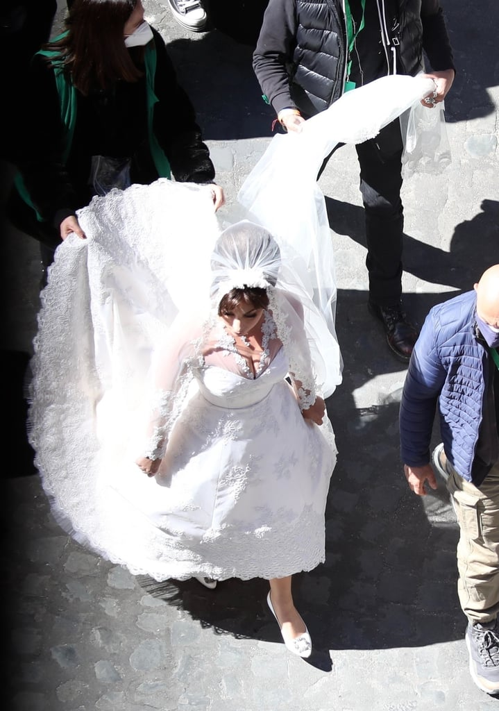 Lady Gaga's Lace Wedding Dress on the Set of House of Gucci