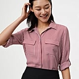 LOFT Striped Utility Blouse