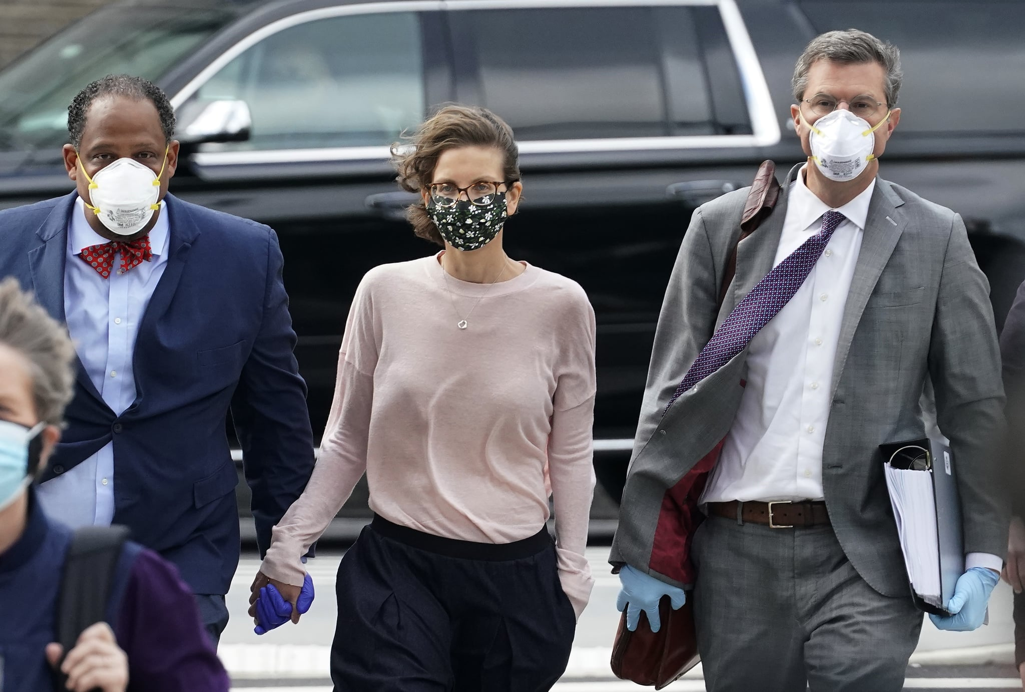 Clare Bronfman arrives at US District court in Brooklyn, New York on September 30, 2020 to be sentenced  for her role in NXIVM, a group that prosecutors say operated as a pyramid scheme and sex-trafficking cult. - US prosecutors on Agust 28, 2020 requested life in prison for a