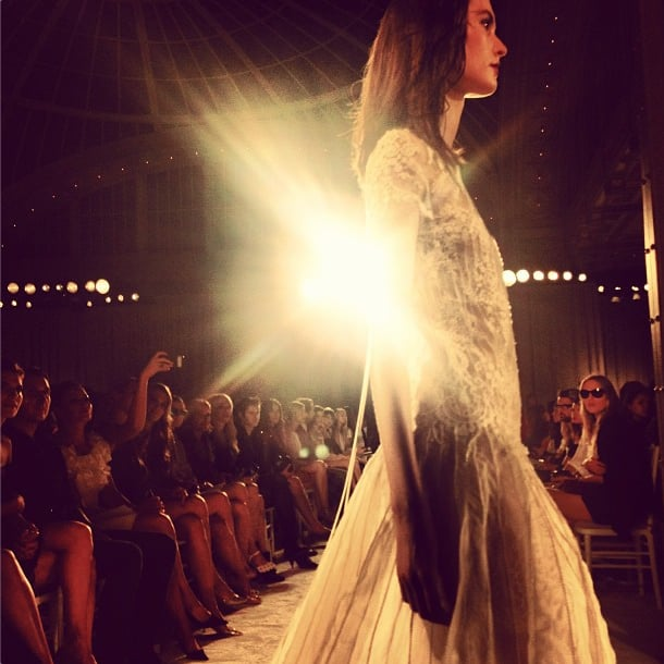 Marchesa's dresses were a runway fantasy. Source: Instagram user theglamourai