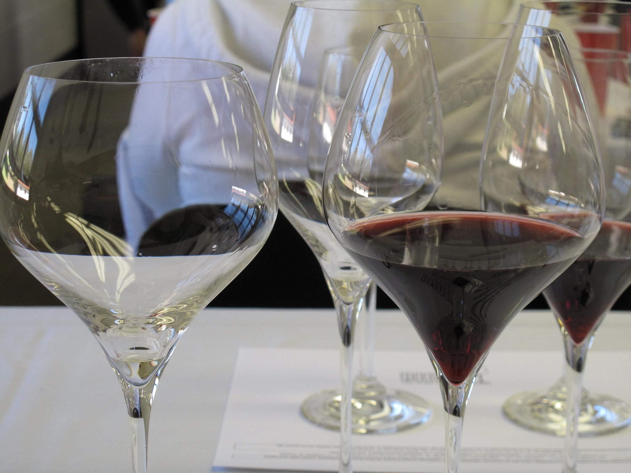 Note the difference in shape of the Montrachet/Chardonnay glass (left) versus the Pinot Noir glass (right).