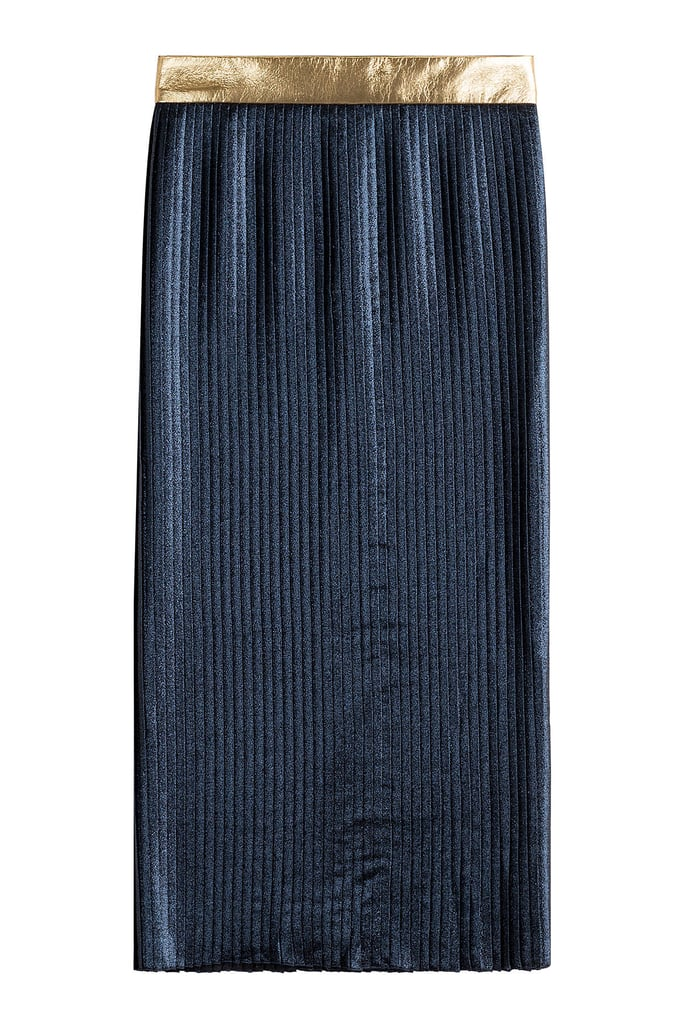 Markus Lupfer Pleated Lamé Skirt