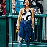 Wear PVC Wedge Sandals With Straight-Leg Cropped Denim