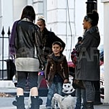 Kingston Rossdale was charmed by big sister Daisy Lowe's dog Uncle Monty.