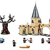 The full set, including six minifigures: Harry, Ron, Hermione, Seamus Finnigan, Filch, and Snape (plus a little Hedwig!).