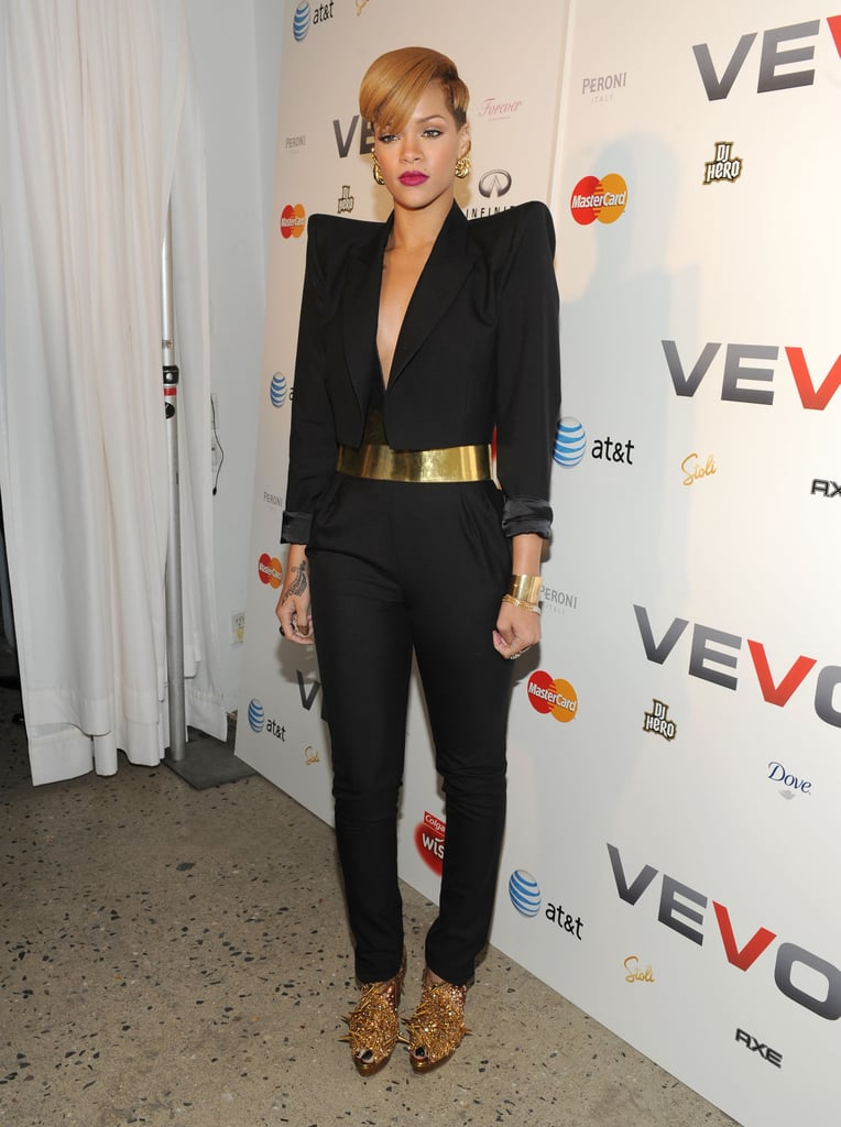 For a 2009 VEVO party, Rihanna channeled a present-day Joan Jetson working a fiercely futuristic ensemble with lethal gold peep-toe booties.
