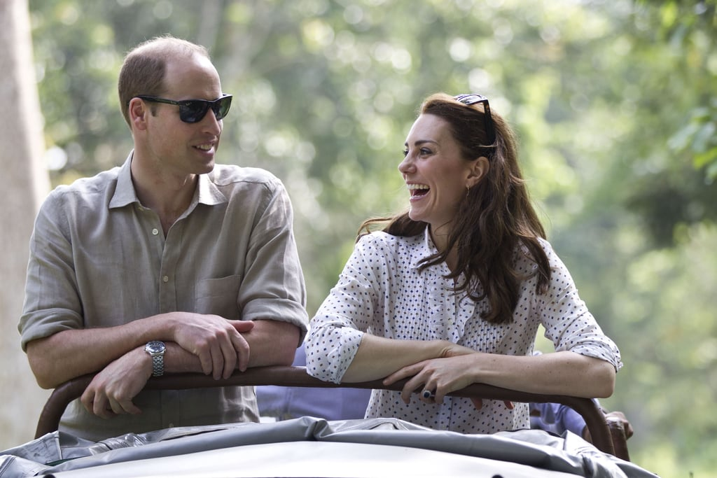 The Duke and Duchess kicked off their tour of India and Bhutan last Sunday, a trip that marks their first official joint visit since NYC back in 2014. The duke and duchess have already been diving head-first into both fun and significant activities, including laying wreaths in honour of terrorist attack victims, celebrating at a Bollywood-inspired gala, and playing soccer and cricket with local children. On Monday, the couple also attended a birthday party in honour of Queen Elizabeth II, who is turning 90 years old later this month, and cut a cake together with a sword! The next two days brought even more fun activities, including a safari tour during which the couple fed baby elephants and rhinos. Keep reading to see the cutest moments from Kate and William's week-long trip to India.