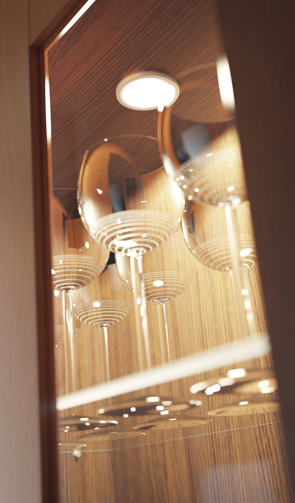 Integrated LED lighting gives your kitchen a custom look at an off-the-shelf price point.