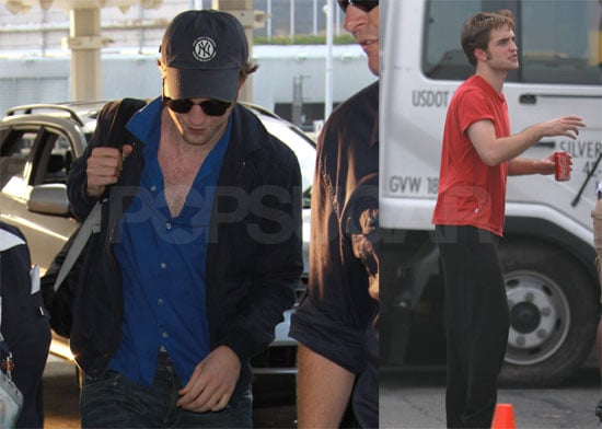 Photos of Robert Pattinson Filming Remember Me, Flying Out of JFK