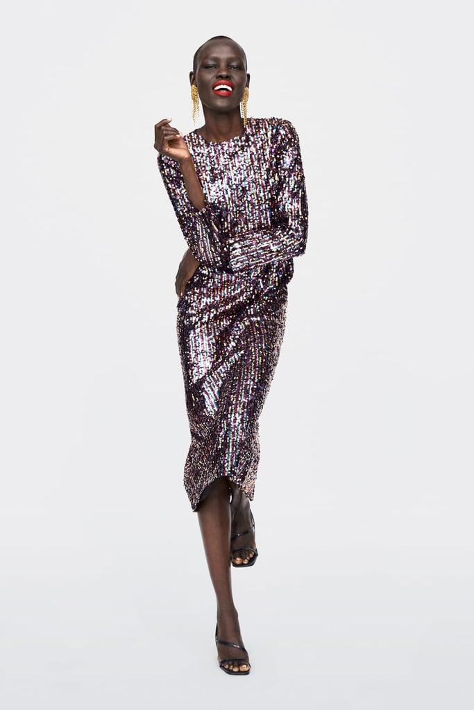 zara sequinned dress 179  best sequin party dresses