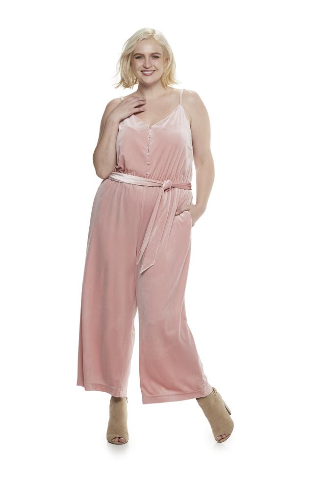 Velvet Wide-Leg Jumpsuit in Bridal Rose