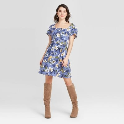 Floral Print Short Sleeve Button-Front Mini Dress