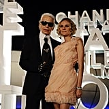 Karl posed with his muse at the launch of Chanel mobile art exhibition in Hong Kong in 2008.