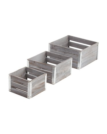 Set Of 3 Distressed Wood With Metal Storage Bins ($20)