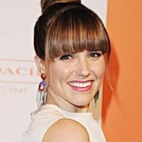 Sophia Bush played with texture and shape with this flattened topknot style, allowing her blunt bangs to take center stage.