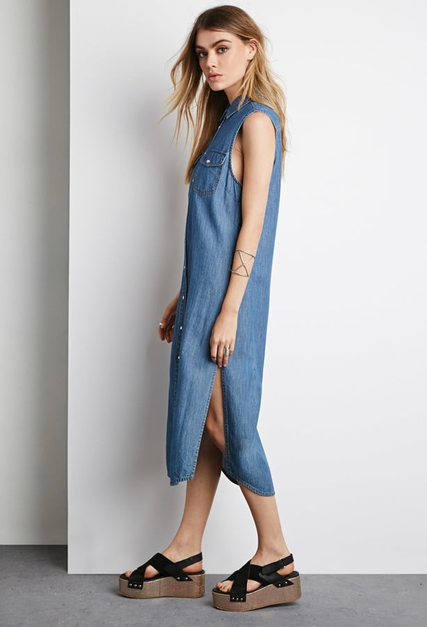 Forever 21 Denim Button-Down Midi Dress ($28)