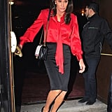 Caitlyn styled her red, white, and blue Chanel bag with a Rag & Bone pussy-bow blouse, black pencil skirt, and power pumps.