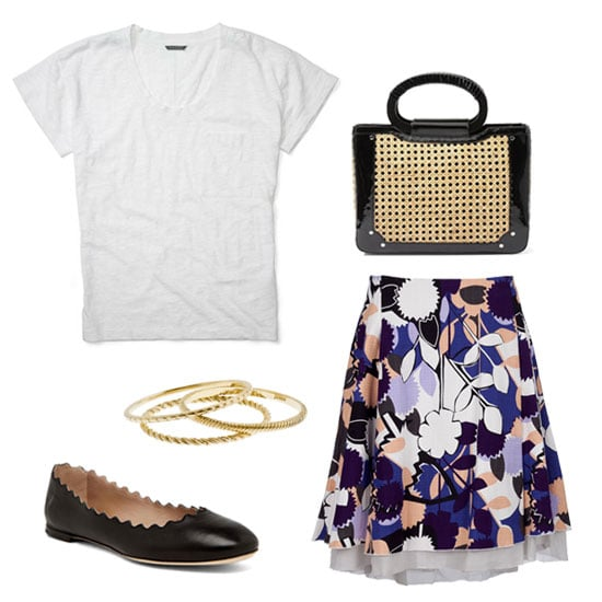 Go for ladylike in this full-skirted ensemble. By keeping the top simple, you can add on ultrafeminine accents via a picnic-perfect wicker bag and pretty gold bangles. Get the look:   Club Monaco Aimee Tee ($50)  Diane von Furstenberg Adella Skirt ($385) White House Black Patent/ Wicker Bag ($88)  J.Crew Gold Bangle Set ($30)  Chloe Scalloped Flats in Black ($450)