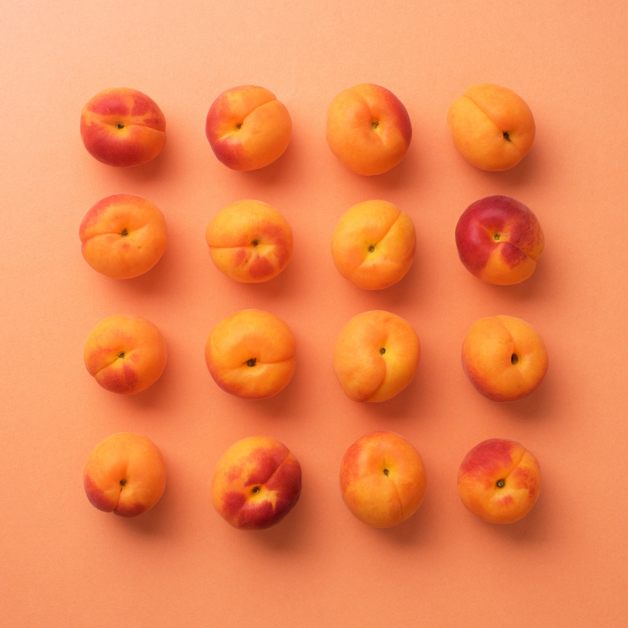 Apricots organized in a square over orange background