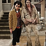 Cryer poses with Ashton Kutcher, as Dead Elvis.